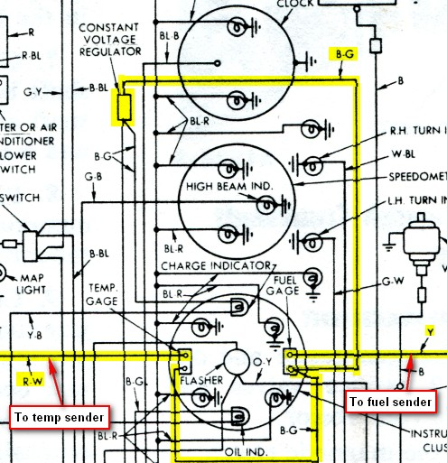 cvrcircuit fuel and temp gauge vintage thunderbird club international Equus Fuel Gauge Wiring Diagram at bakdesigns.co